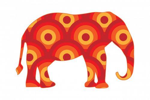 Funky Retro Circles Elephant