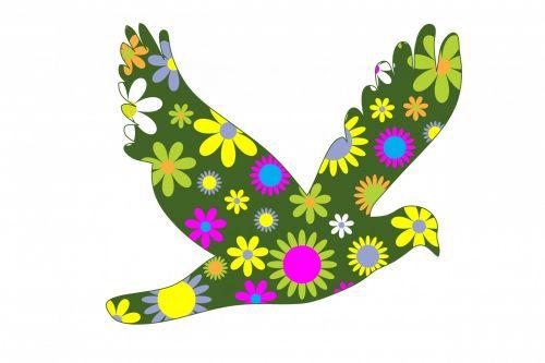 Funky Retro Floral Bird