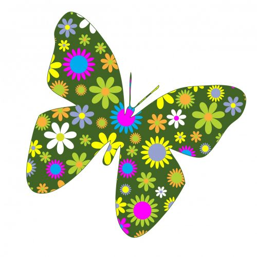 Funky Retro Floral Butterfly