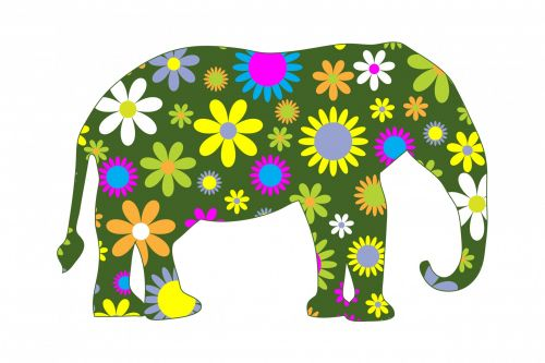 Funky Retro Floral Elephant