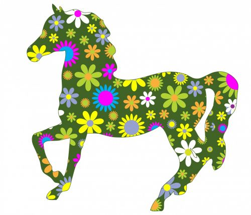 Funky Retro Floral Horse