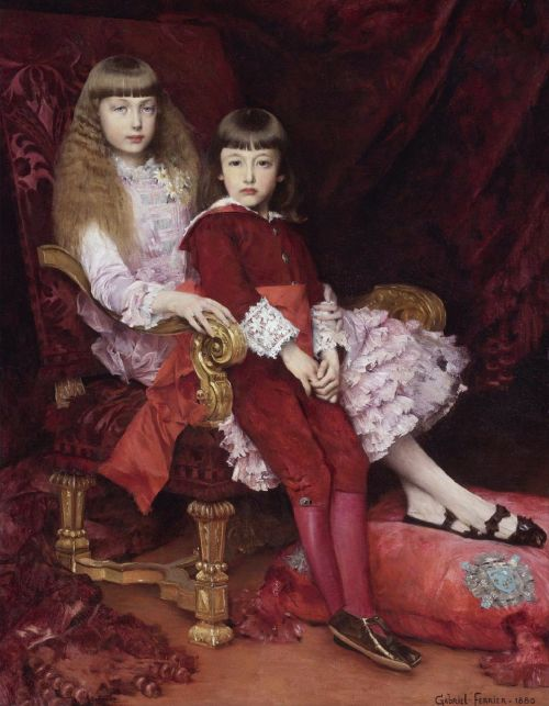 gabriel ferrier,dažymas,aliejus ant drobės,menas,meno,meniškumas,portretas,mergaitės,vaikai