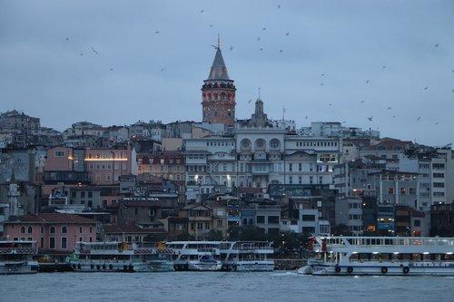 galata  galata tower  boat
