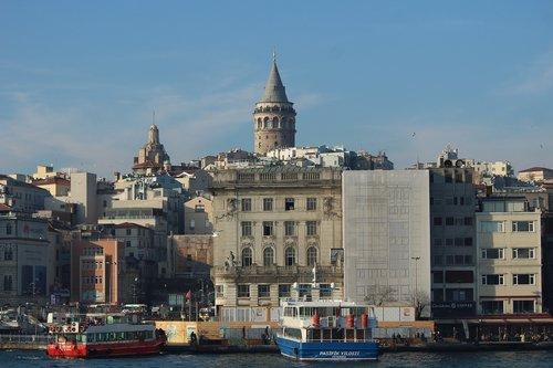 galata tower  galata  estuary