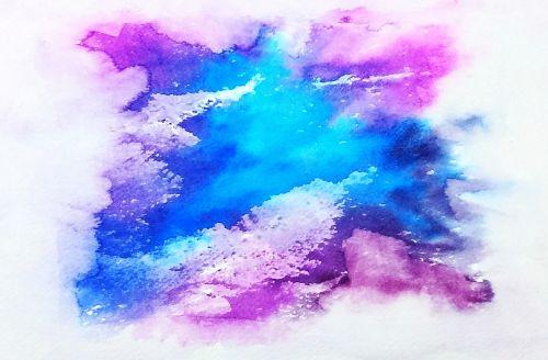 galaxy watercolor blue