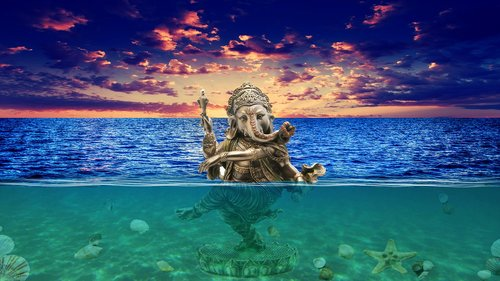 ganesh  underwater  photoshop