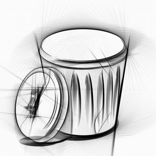 garbage can drawing pencil