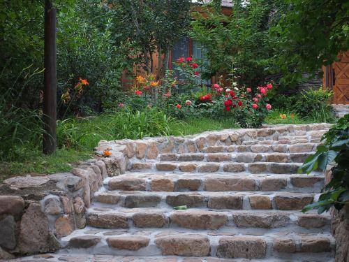garden stairs background