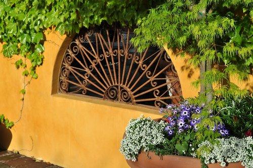 garden  wrought iron  greenery