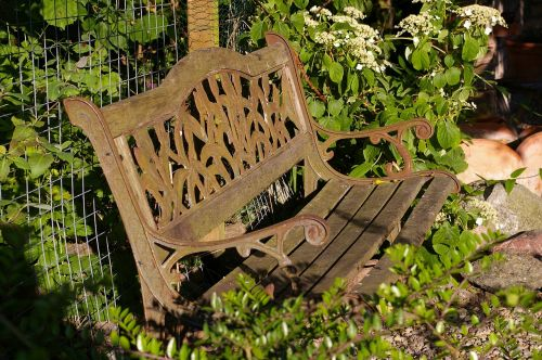 garden bench old bench nature