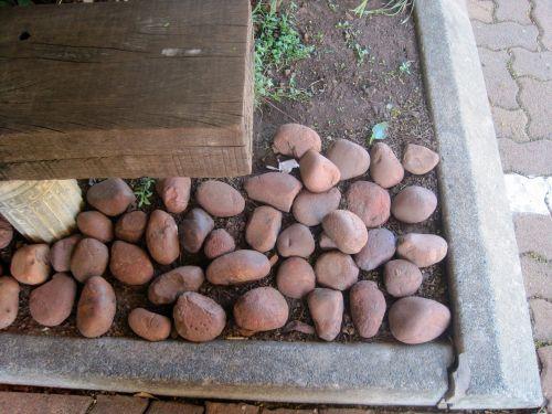 Garden Bench And Pebbles