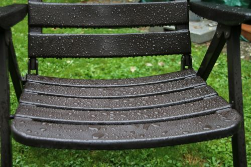 garden chair rain raindrop