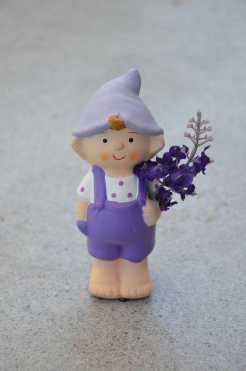 garden gnome violet overalls