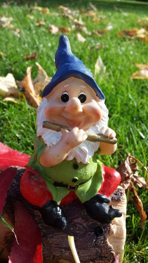 garden gnome dwarf autumn