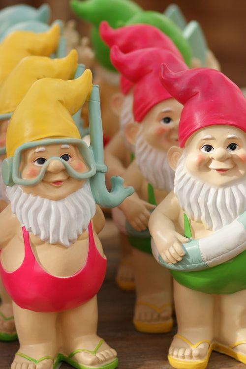 garden gnomes colorful garden