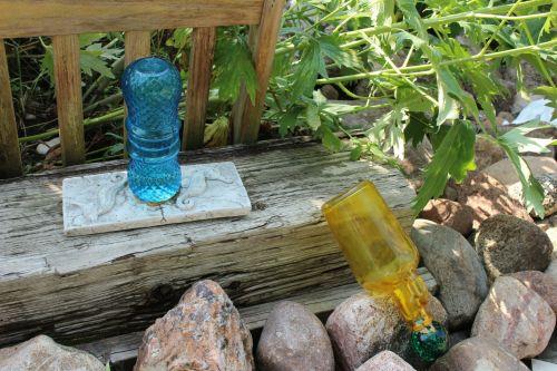 sodas, papuošalai, spalvos, buteliai, stiklas, sodo papuošalai spalvoti buteliai