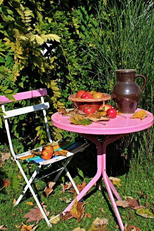 garden table autumn garden