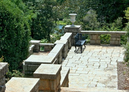 garden terrace stone balcony bench