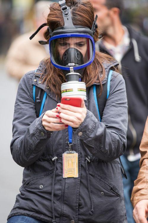 gas mask camera portrait