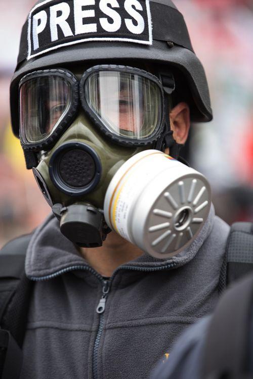 gas mask portrait exposure