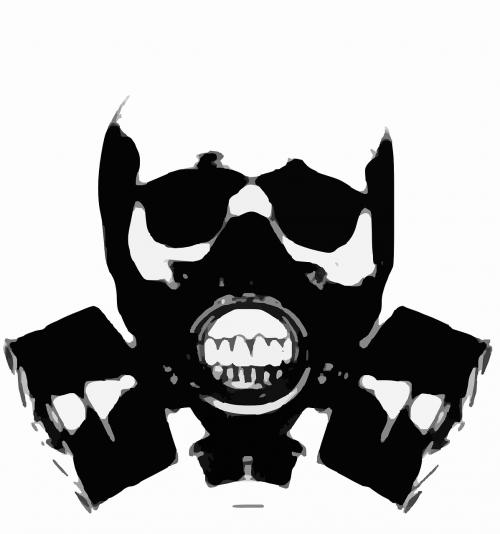 gas mask silhouette skull