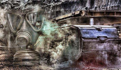 gas mask  bulldozer  brown coal