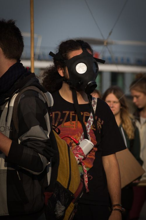 gas mask protest mass