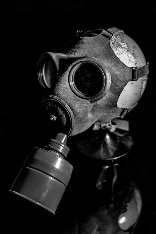 Gas Mask On Globe