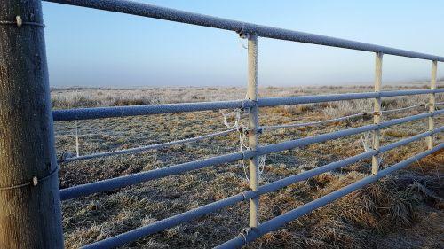 gate in winter on the island of borkum