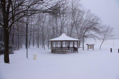 gazebo in the snow  snow  snowing