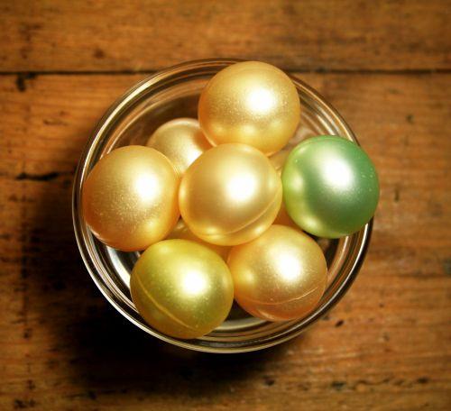 Gel Bath Balls On Wood