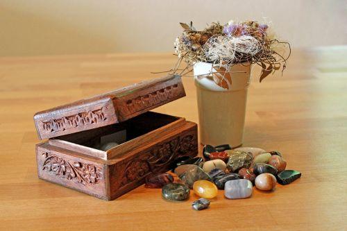 gems tumble stones casket