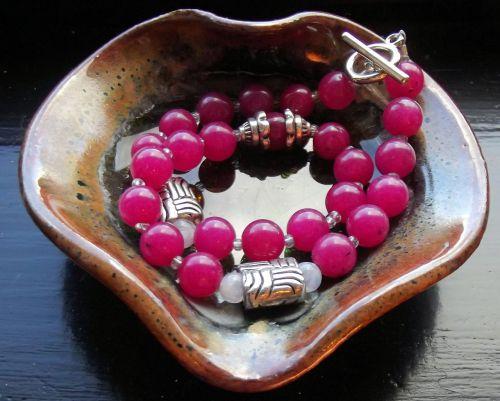 gemstones dyed jade hot pink