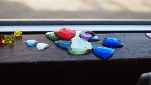 gemstones sorting window sill