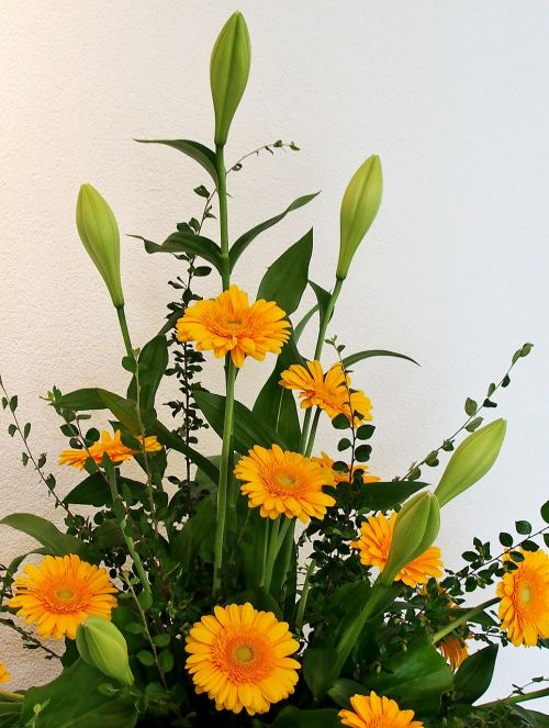 gerbera yellow floral arrangement
