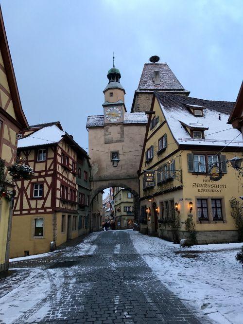 germany rothenburg de tauber snow