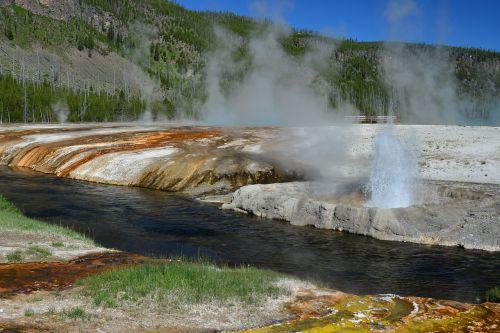 geyser yellowstone colorful
