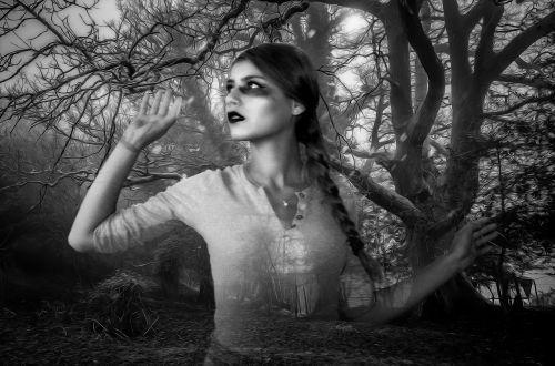 vaiduoklis,Moteris,vaiduoklis,mergaitė,gotika,tamsi,siaubas,fantazija,baugus,košmaras,mįslingas,mirtis,miškas,tamsus miškas,Halloween,creepy