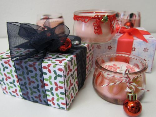 gift box gift wrapping candles
