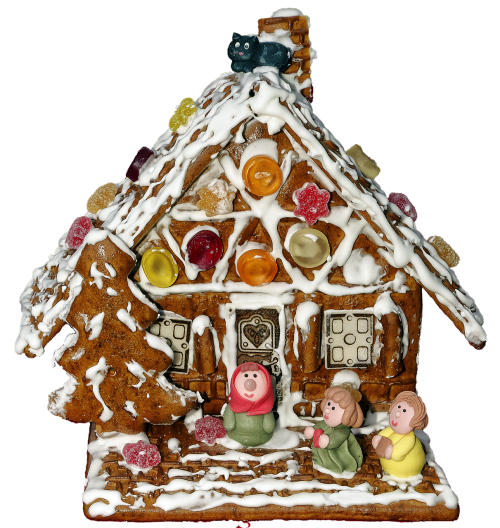 gingerbread house marzipan figures gingerbread