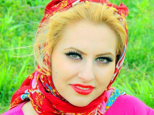 girl portrait red
