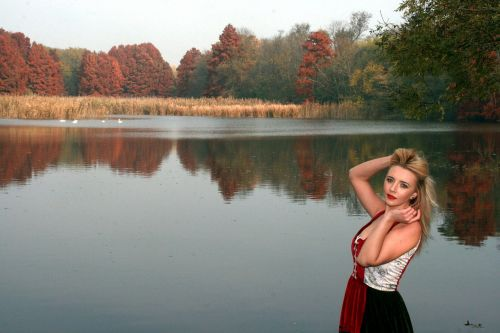 girl,lake,autumn,forest,reflection,red,princess,beauty,seductive,nature