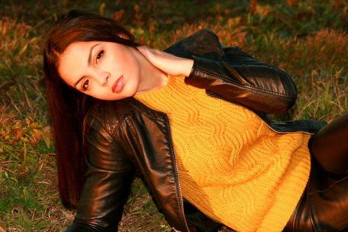 girl black hair leather jacket