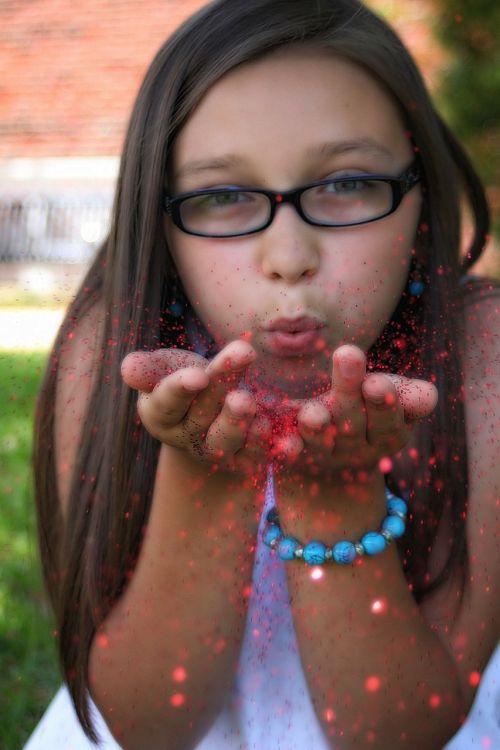 girl glitter face