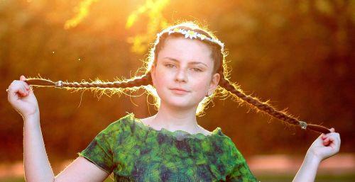 girl stems sunset