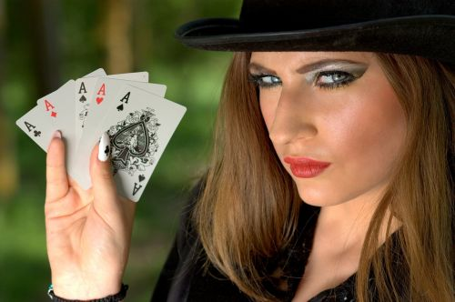 girl topper playing cards