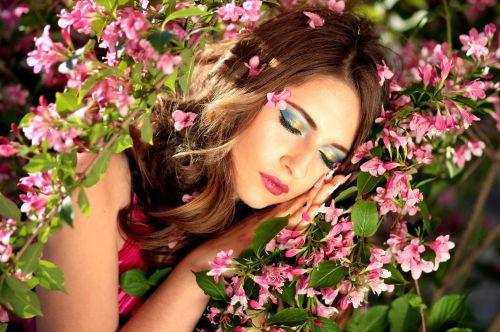 girl sleeping flowers