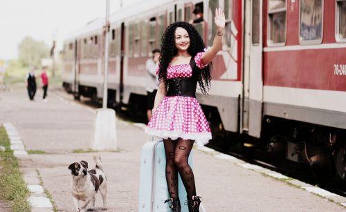 girl train station baggage