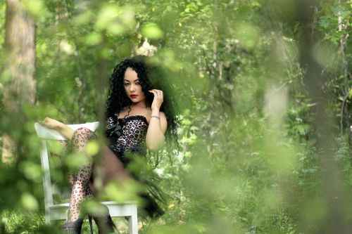 girl wild forest