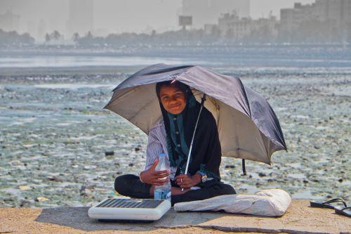 girl umbrella laugh